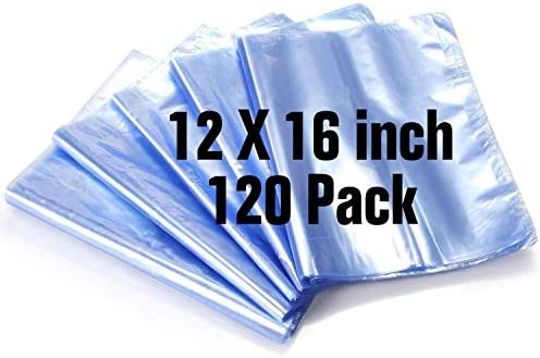 12x16 Inch Shrink Bags 120PCS Shrink Wrap Bag PVC Heat Shrink Wrap Bags for Gifts Bath Bombs product image
