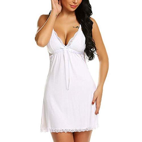 JUSHINI ReizwäSche Damen Offener Schritt Erotik Erotische Dessous Transparent Mesh Pyjama Nachthemd Japanischen Kimono Bademantel(Weiß,XL)