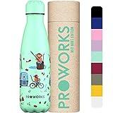 Proworks Botella de agua deportiva de acero inoxidable con doble aislamiento para 12 horas calientes y 24 horas frías para el hogar, trabajo, gimnasio y viajes, sin BPA, 1 litro