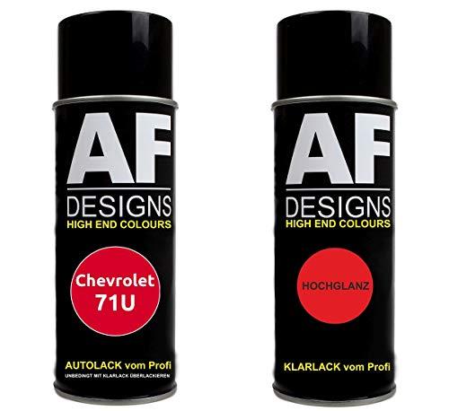 Autolack Spraydose Set für Chevrolet 71U Super Red Basislack Klarlack Sprühdose 400ml
