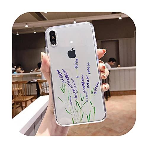 Lujo plantas tropicales flor teléfono caso transparente suave para iphone 5 5s 5c se 6 6s 7 8 11 12 plus mini x xs xr pro max-a11-para iphone XS MAX