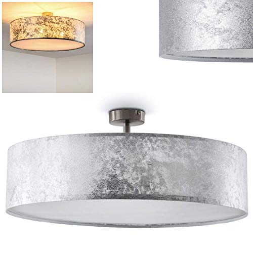 Plafondlamp Foggia, ronde plafondlamp met stoffen kap in zilver/wit, Ø 60 cm, LED-compatibel, 3 x E27 stopcontact, 40 Watt, retrodesign