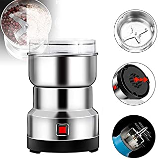 N/G Portable Multifunction Smash Machine Small,Electric Grain Grinder Multi-Function Coffee Grinder Food Spice Mill Electric Food Seasonings Grinder (Silver)