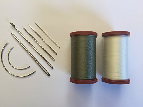 Upholstery Repair Kit Coats Extra Strong Upholstery Thread Plus Heavy Duty Assorted Hand Needles: 7 Needles and 2 spools 150 Yards Each (Green Linen & White)