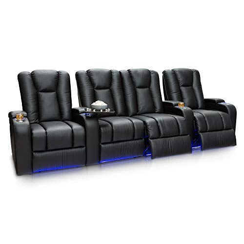 Seatcraft Serenity Leather Home Theater Seating Power Recline with in-Arm...