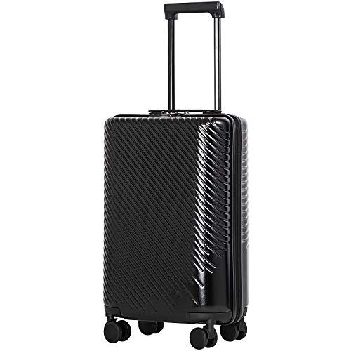 [クールライフ] COOLIFE スーツケース キャリーバッグダブルキャスター 二年安心保証 機内持込 ファスナー式 人気色 超軽量 TSAローク ファッション (M サイズ(24in), ブラック)