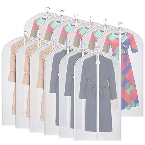 Univivi Clear Garment Bag 50 Inch (Set of 12), Hanging Lightweight Garment...