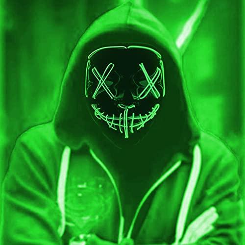 DONYA LED Máscaras Halloween, Purge Mask para Carnaval, Led Mascaras 3 Modos de Lluminación, Adultos LED Mask para Fiestas de Disfraces, Navidad, Carnavales, Cosplay