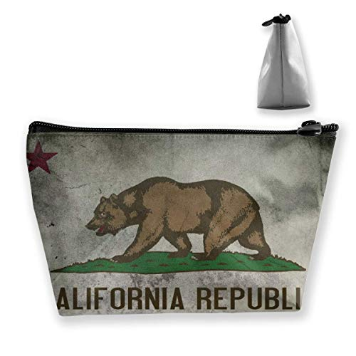 Vintage California Vlag Cosmetische Tas Make-up Opbergtas Toiletruimte Organizer Potlood Case Handtas