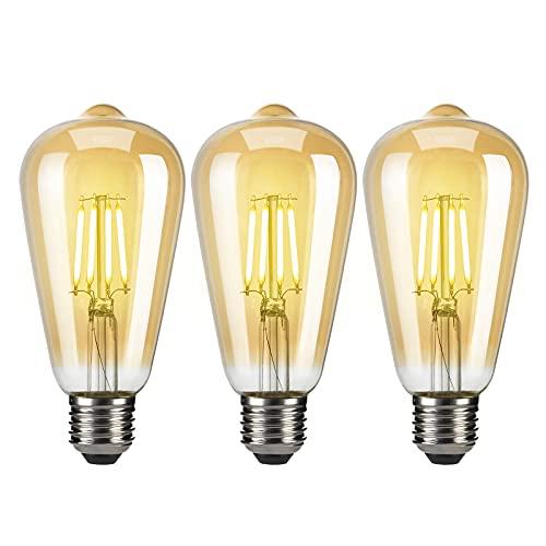 EYLM Edison LED ampoules ST64 E27 40W lampe ampoule rétro vintage, 220V-230V, blanc chaud, design industriel pour la décoration d'éclairage antique,3 Pack