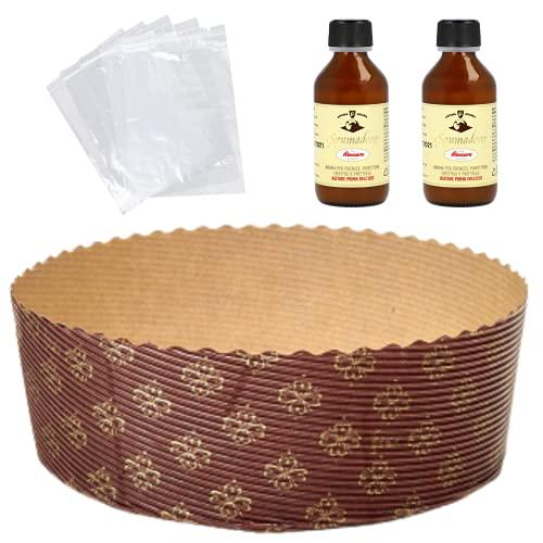Kit Stampo per Panettone (10 pz x 500 gr) + Aroma per Dolci Fraccaro (2 x 100 ml) + Sacchetto (10 pz), Stampi di Carta di Pura Cellulosa ideale per l'uso in Forno, resistente al calore 200°C
