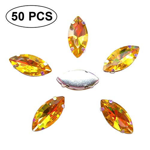jweemax Glass Rhinestones with 4 Holes, 50pcs Crystal Rhinestones Gems Beads Sew for Jewelry for Clothes Crafts