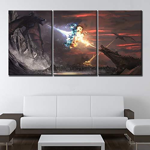 ksjdjok Decoración del hogar Juego de Tronos Cuadro en Lienzo de impresión Poster Imagen de Marco Modular Marco de Arte para Sala de Estar 40X60 cm 3 Piezas sin Marco