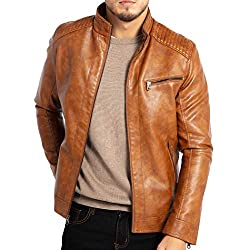"""WULFUL Mens Stand Collar Leather Jacket Motorcycle Lightweight Faux Leather Outwear"""