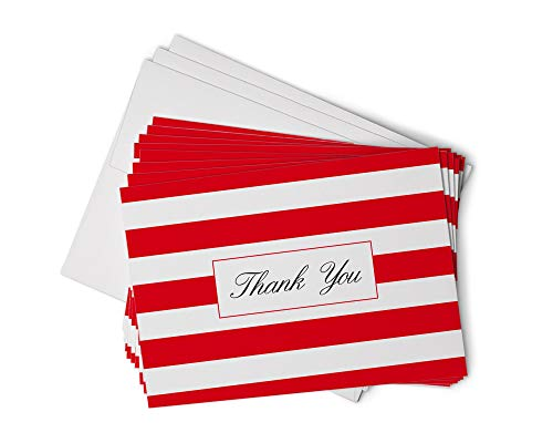 Red Striped Thank You Cards - 48 Classic Note Cards with Envelopes - Perfect for Special Events & Businesses