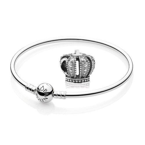 Original PANDORA Starterset / Geschenkset 925er Sterling Silber - 1 Armreif - Größe 19 cm - Art.Nr. 590713-19 und 1 Silber Charm Krone - Art.Nr. 790930