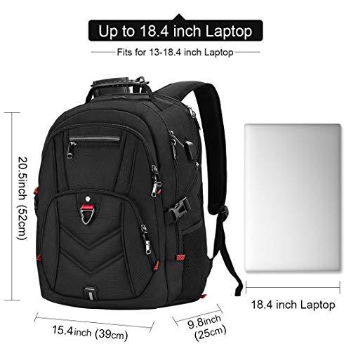 NEWHEY Laptop Rucksack Herren 18 Zoll Schulrucksack Jungen Teenager 18,4 USB Arbeit Business Wasserdicht Gross Notebook Rucksäcke für Männer (Schwarz-Plus)