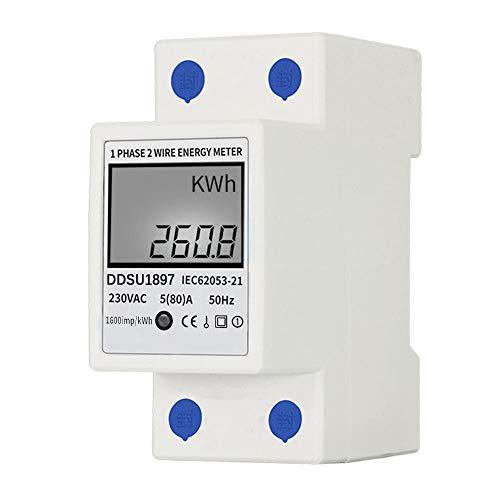 KKmoon Compteur électrique Monophasé, 80A 220V Compteur d énergie électrique Numérique Compteur d électricité à Rail DIN Monophasé Compteur électrique Multifonction à Deux Fils Monophasé