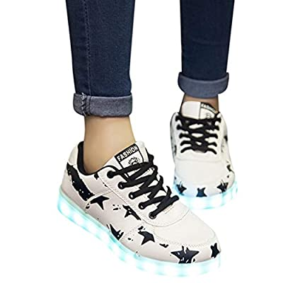 LED Luminous Women Sneakers,Girls Light Colorful Glowing Leisure Flat Shoes Black Stars Lace-Up Casual Shoes (Black, US:8.5)