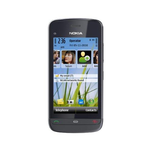Nokia C5-03 Smartphone (8.1cm (3.2 Zoll) Touchscreen, 3.5mm Klinkenbuchse, Ovi Karten, GPS) graphite black