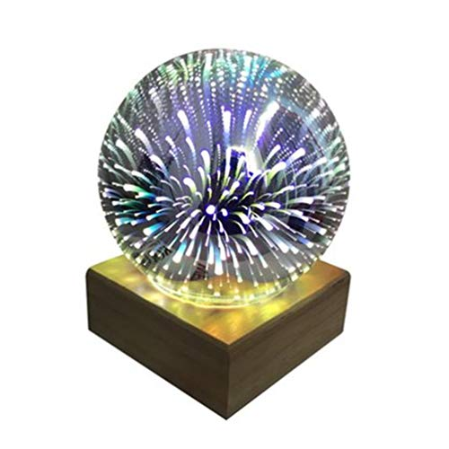 SOLUSTRE 3D Kristall Magische Lampe Feuerwerk Nachtlicht Glaskugel Nachtlicht Weihnachten Nachttisch Licht für Wohnzimmer Schlafzimmer Büro Weihnachtsfeier Geschenke (Bunt)
