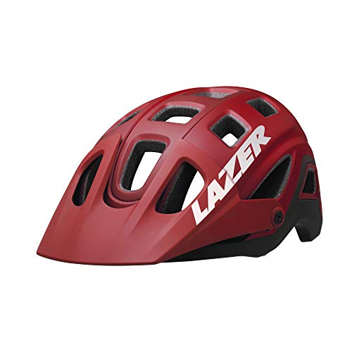 LAZER Impala Mountain Bike Helmet – Off Road Bicycling Helmets for Adults – Men & Women's Cycling Head Protection with Visor & Camera Mount, Matte Red, Large
