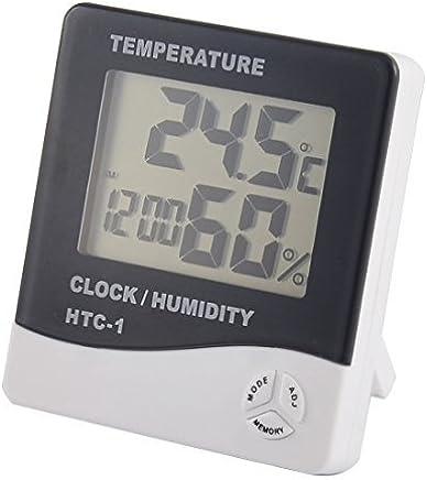 eDealMax Interior del despertador del LCD Digital Tiempo Temperatura Humedad Medidor termómetro higrómetro