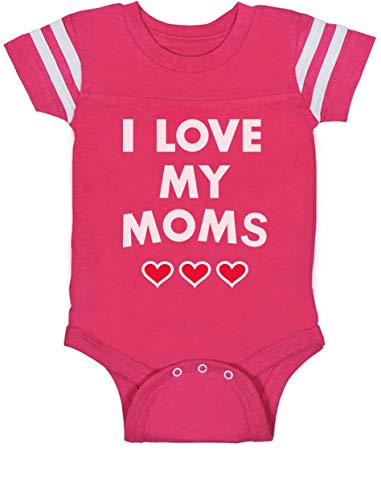 I Love My Moms - Gay Pride Infant Baby Jersey Bodysuit 18M Wow Pink