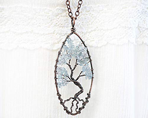 Raw Aquamarine Tree of Life Necklace Wirewrapped Blue Gemstone Pendant Bonsai Tree Family Tree birthstone for March Oxidized Copper Chain Original gift Handmade and Crafted by KapKaDesign