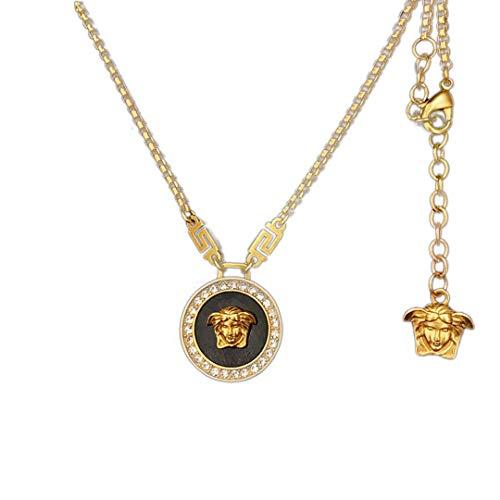 Mode Medusa Anhänger Golden Legierung Anhänger Halskette Medusa Porträt Halskette für Herren Damen (1 Pc) (Schwarz)