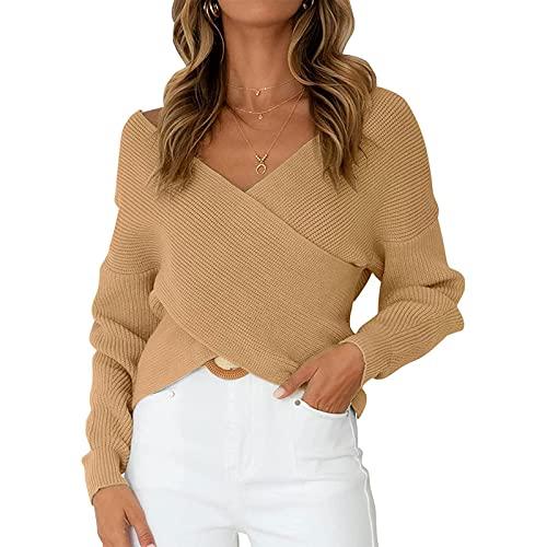 Dazzerake Suéter para Mujeres Top de Punto Corto Mangas Largas Cuello en V Color Sólido Jersey de Punto de Moda Pullover Casual para Otoño Primavera (Caqui, M)