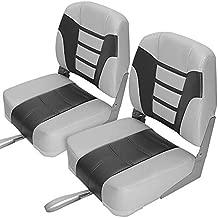 MAXSHADE COVERS MSC UnderShell Folding Boat Seat Fishing Seat,2 Seats,One Pair (Light Grey/Dark Grey, Low Back)