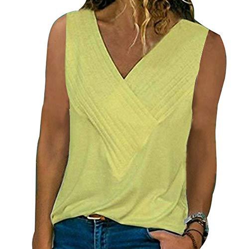 Damen Weste FrüHling Und Sommer Schlanke NäHte V-Ausschnitt Kurzarm Einfarbiges T-Shirt