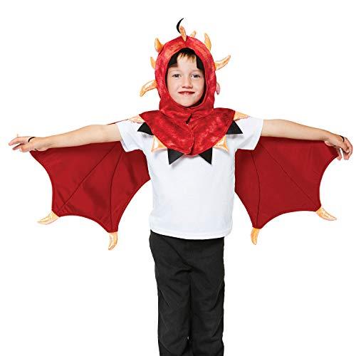 amscan- Red Cape with Spiky Hood, Wings and Tail-One Size-1 PC Capa de dragón Capucha, alas y Cola – Talla única – 1 Unidad, Color rojo, dorado. (9904118)