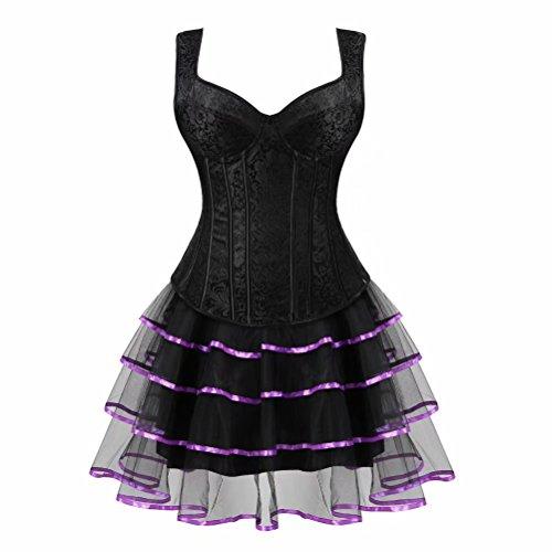 Josamogre Mujer Sexy Corset Gótico Tirantes Lingerie Vestido de corsé Bustiers Falda Tutu Burlesque Halloween Negro Púrpura S