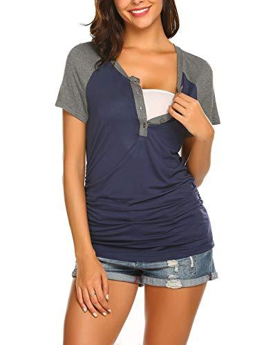 MAXMODA Grossesse Vêtements de maternité Tops de maternité T-Shirt Veste d'allaitement