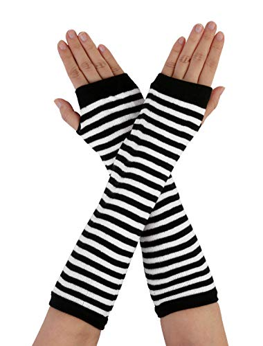 Allegra K White Black Stripe Print Stretchy Fingerless Arm Warmers Gloves Pair
