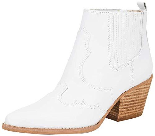 Sam Edelman Women's Winona Western Boots, White, 8