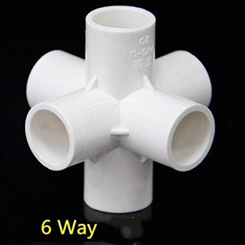 Zent PVC Rohrverbindungsverbinder 3 4 5 6-Wege-Schlauchteiler 20-50 mm Gartenbewässerungswasserleitung Passender Kupplungsadapter DIY-Regalverbindung, 6-Wege, 25 mm