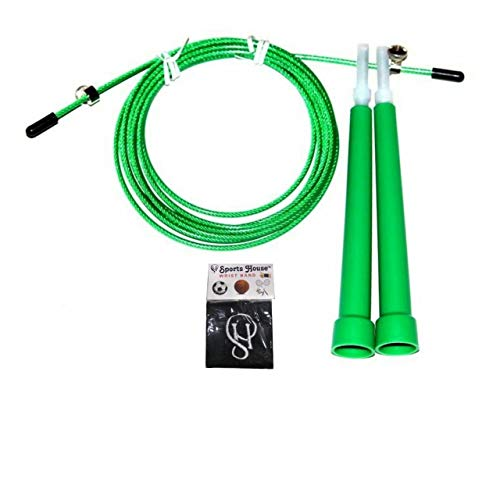 Konex Jump Rope for Skipping Green Colour with Sports House Wrist Band (Adjustable Speed Rope)