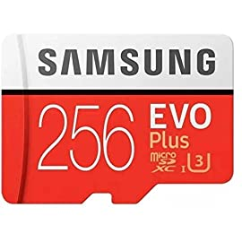Samsung 256GB EVO Plus MicroSDXC w/Ad 1 Up to 95 MB/s read and 90 MB/s write speed with class 10 and U3 compatibility; includes full-size SD adapter Free up your devices with the largest capacity and highest read/write speeds in Samsung's class, suitable for full HD video Backed by 4-proof protection, the EVO Plus can withstand up to 72 hours in seawater, extreme temperatures, airport X-ray machines and magnetic fields equivalent to an MRI scanner