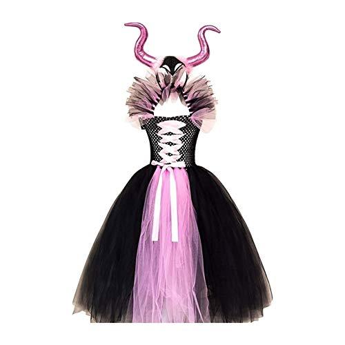 Nio Pequeo, Nias, Bebs, Magnfica Bruja, Disfraz de Halloween, Vestido Negro con Cuerno, Diadema, Alas, Vestido Elegante, Cosplay (Color : Pink, Size : 8-9Y)