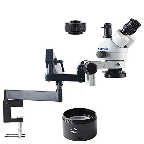 KOPPACE 3.5X-45X Trinocular Stereo Microscope,WF10X/20 Eyepiece,Mobile Phone Repair Microscope,Rocker Bracket,0.7X-4.5X Zoom Lens,Includes 0.5X Barlow Lens