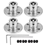 4 Pack 5mm Flange Coupling Connector, Rigid Guide Steel Model Coupler Accessory, Shaft Axis Fittings for DIY RC Model Motors, High Hardness Coupling Connector-Silver.