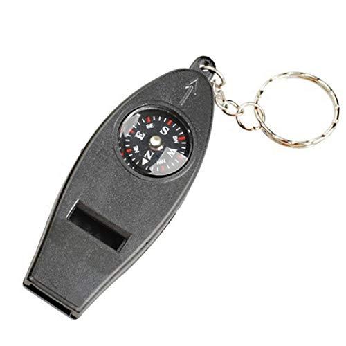 YEATOP 4 en 1 Multifonction Boussole thermomètre sifflet Porte-clés kit de Survie de Voyage en Plein air Boussole Mini Boussole