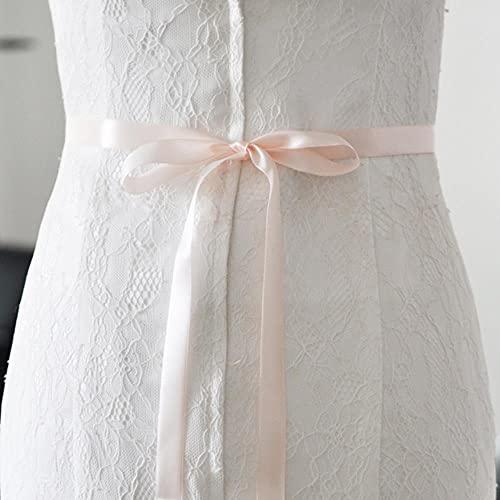 Cinturón de boda de lujo TOPQUEEN Cinturón de novia azul real Cinturón de novia de satén formal Cinturón de boda azul oscuro S424-Baby Pink