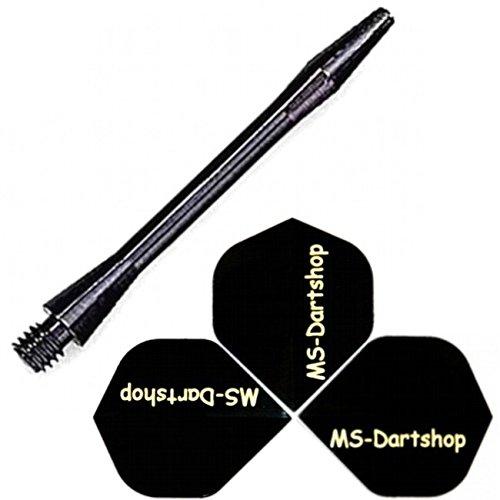 MS-DARTSHOP Flights und MS Alu Schäfte, Medium L2=47mm, Schwarz