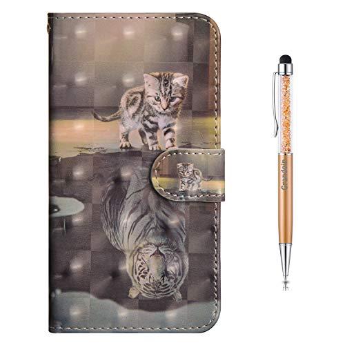 Grandoin für iPhone SE 2020 Hülle (4,7 Zoll), 3D PU Leder Etui Flip Cover Bunte Muster Book Case Schutzhülle Handytasche Handyhülle [Ständer Kartenfach] [Magnetverschluss] (Katze und Tiger)