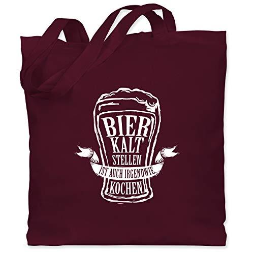 Shirtracer Typisch Männer - Bier kalt stellen ist auch irgendwie kochen - Unisize - Bordeauxrot - XT600_Jutebeutel_lang - WM101 - Stoffbeutel aus Baumwolle Jutebeutel lange Henkel