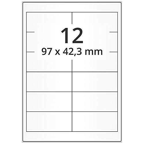 Labelident Laser-Etiketten auf DIN A4 Bogen - 97 x 42 mm - 6000 Papieretiketten weiß, matt, selbstklebend, 500 Blatt Internetmarke Etiketten